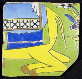 Tile with part of camel from spandrel frieze of Layla and Majnun