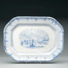 "Plate in ""British America"" pattern with scene ""Port Hope"""