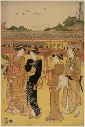 "Woodblock print of ""Three Women and a Man visiting a Temple"""