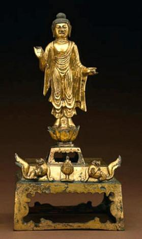 Gilt bronze altarpiece of Shakyamuni Buddha