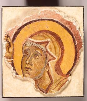 Fresco fragment of female saint