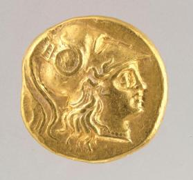 Stater with head of Athena wearing a crested Corinthian helmet