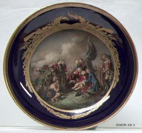 "Saucer, after Benjamin West's 1770 painting ""The Death of Wolfe"""