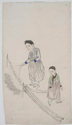 Painting of woman and girl making thread 실잣기