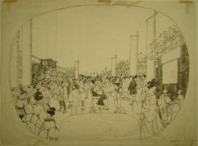 Preliminary sketch for a woodblock print: Street Scene