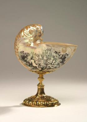 "Nautilus shell cup with scenes depicting ""The Marriage of Neptune and Amphitrite"" and the ""Birth of Venus"""