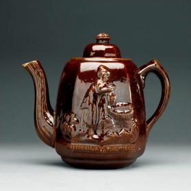 "Teapot and lid with scene ""Rebecca at the Well"""