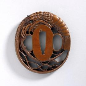 Tsuba (sword guard) with openwork lobster design