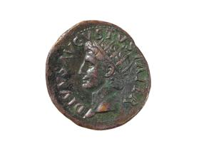 As coin of Tiberius, obverse with head of Augustus, reverse with altar and SC
