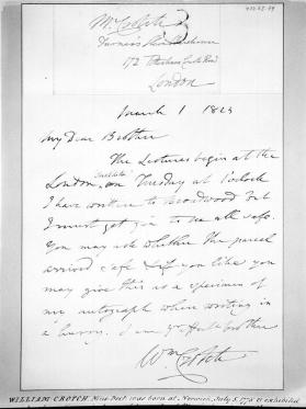 Autograph letter from William Crotch to his brother