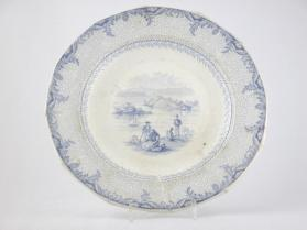 "Plate in ""British America"" pattern with scene ""View from the the Citadel of Kingston"""