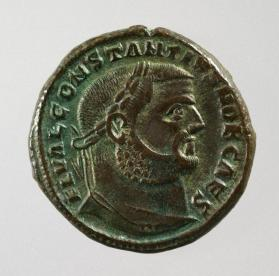 Follis with laureate bust of Constantius I