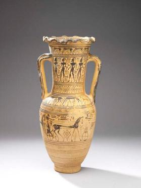 Attic Late Geometric funerary amphora showing processions of men and chariots