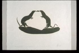 "Print, ""Two Mink and Fish"""