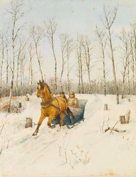 Two Men Riding Horse-Drawn Sleigh