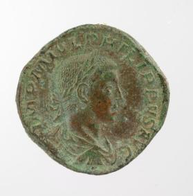 Sestertius coin with draped laureate bust of Philip II, son of Philip I