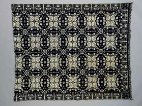 Jacquard coverlet with rose motif