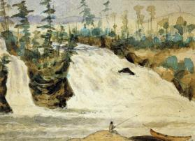 Eleven Canadian waterfalls: Waterfall with fisherman and canoe