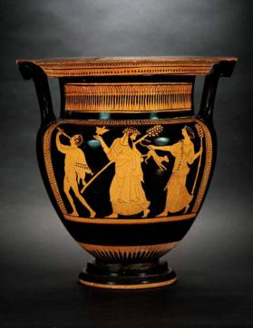 Attic red-figure column krater showing Dionysus and his entourage