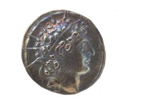 Tetradrachm coin of Antiochus VI with diademed and radiate head