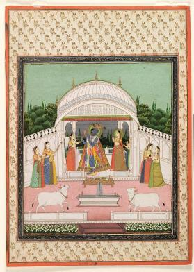 "Painting of ""Megha Raga"" as Krishna dancing and playing his flute with maidens"