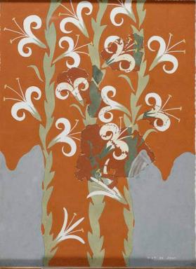 Reproduction of a fresco reconstruction with lilies, from Knossos, Greece