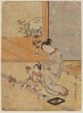 Print of A young woman dressing a boy's hair, with view from room onto garden.