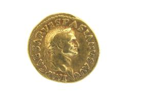 Aureus coin with laureate head of Vespasian
