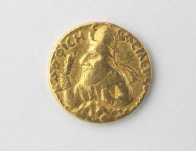 Stater with bust of Vima II Kadphises emerging from the clouds