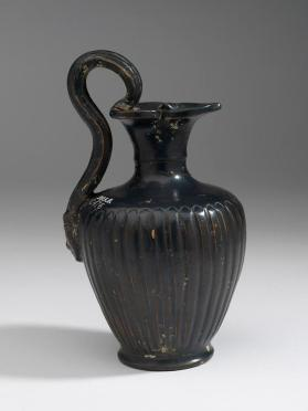 """Malacena"" ware ribbed oinochoe with satyr's head handle"