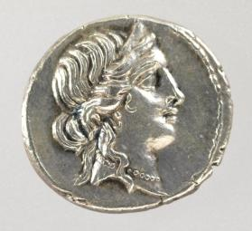 Denarius coin with head of Venus
