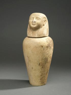 Canopic jar base (lid in form of a human head, Imsety)