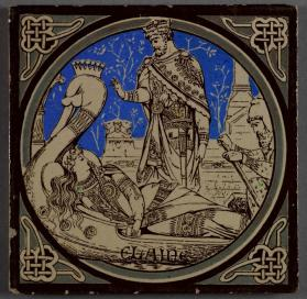 "Pictorial tile entitled ""Elaine,"" one of a series from ""Tennyson's Idylls of the King"""
