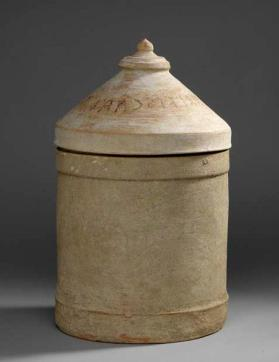 Cinerary urn with inscription on lid