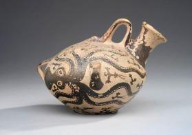 Mycenaean marine-style askos (flask) decorated with two octopi