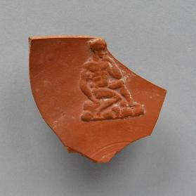 Vessel fragment of North African red-slip with Jonah seated on the rocks