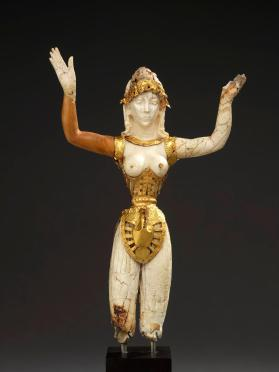 Chryselephantine figurine of a woman