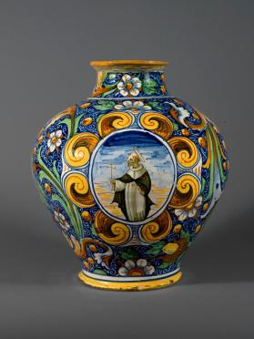 Jar with depiction of Saint Dominic