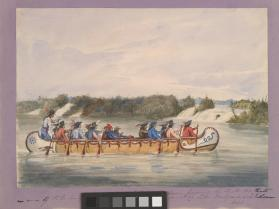 Sir George Simpson Passing the Chats Falls in a Hudson's Bay Company Canoe