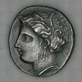 Didrachm with obverse head of Persephone and reverse of Ajax in helmet