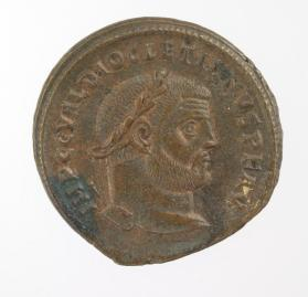 Follis coin with laureate bust of Diocletian