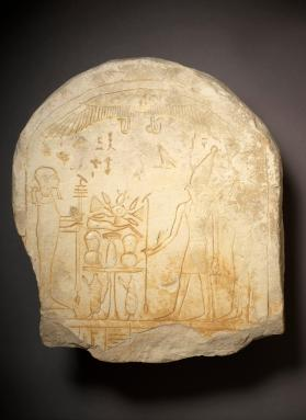 Stela depicting Isis and Horus before Ptah