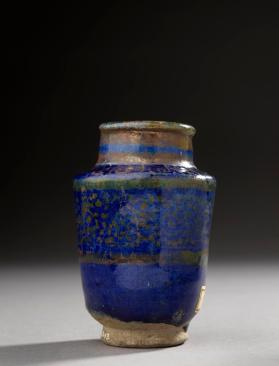 Lustre-ware jar with geometric design