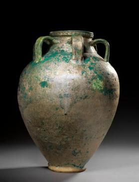 Storage jar with turquoise glaze