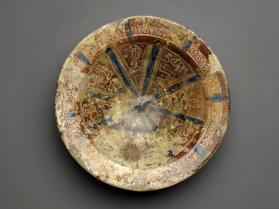 Lustre-ware bowl with geometric design