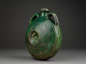 Bottle or canteen with green glaze