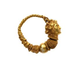 Hoop earring with the head of a maenad