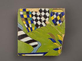 Tile from an arch panel with drummers and horn blowers