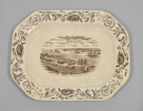 "Platter in ""Quebec"" pattern with scene ""Quebec Harbor & Levis"""