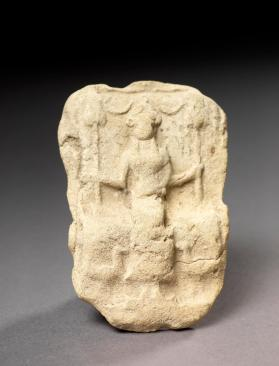 Plaque with seated goddess